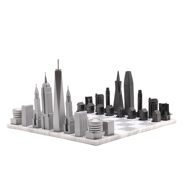 New York vs. San Francisco unique luxury chess set on Italian marble board