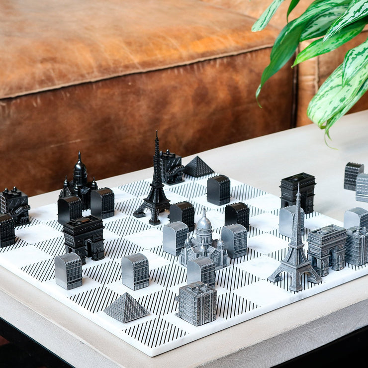 Paris unusual metal chess set unique gifts