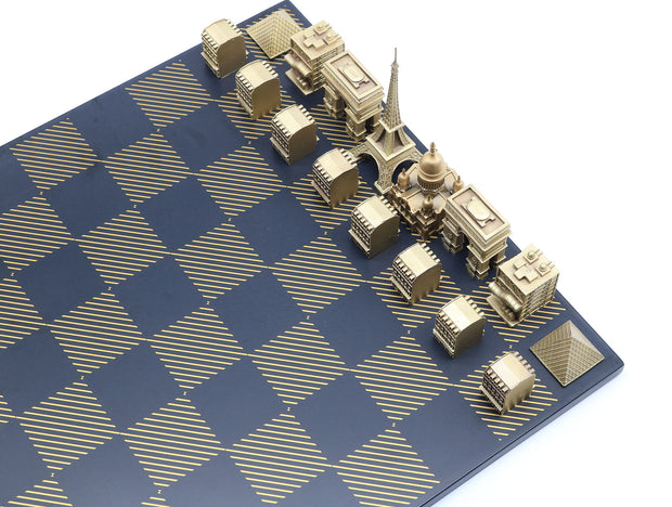 Skyline Chess Paris bronze metal unique chess set stone board