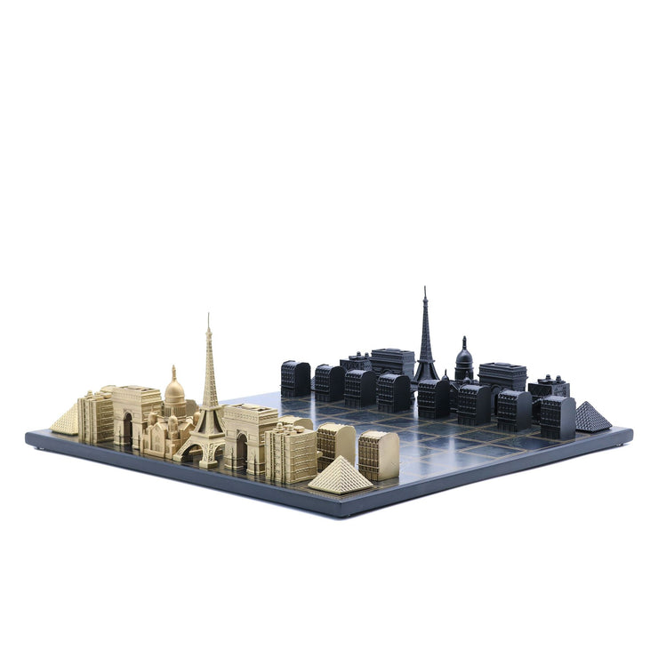 Skyline Chess Paris unique set up chess board with personalized message