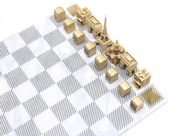 Paris solid bronze metal unique chess set Carrara marble board - gift ideas for men