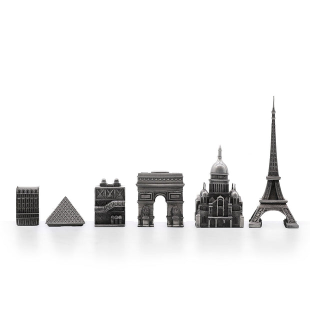 Skyline Chess Paris metal unique chess set - gift ideas for men