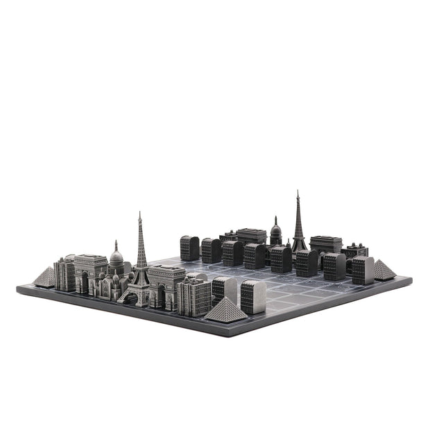Skyline Chess Paris unique luxury metal chess set of famous buildings