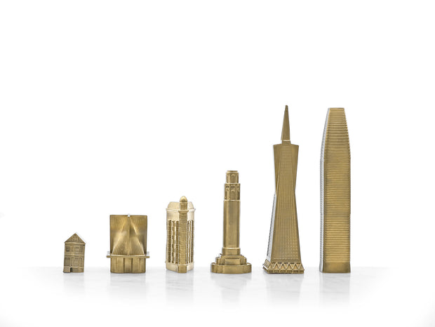 Skyline Chess San Francisco bronze metal unique chess set - gift ideas for men