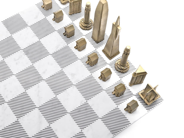 Skyline Chess San Francisco unique set up in bronze and marble board