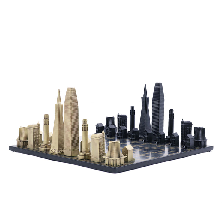 Skyline Chess San Francisco unique luxury bronze chess set of famous buildings
