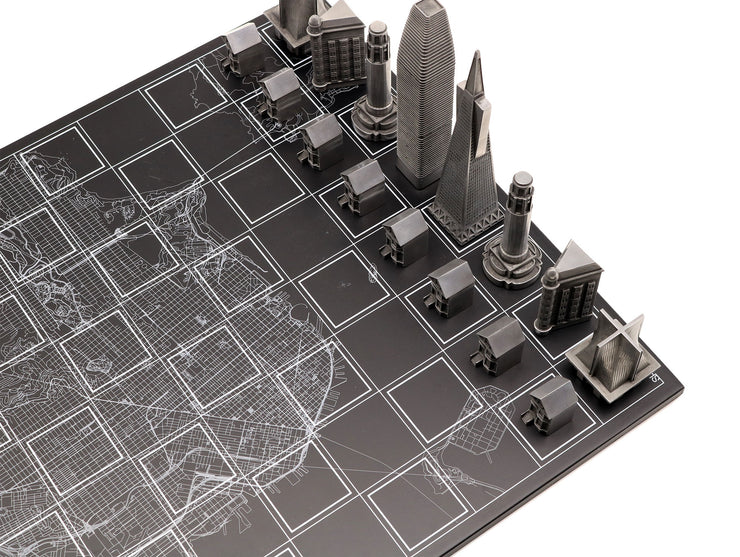 Skyline Chess San Francisco unique metal marble board chess set personalized gifts