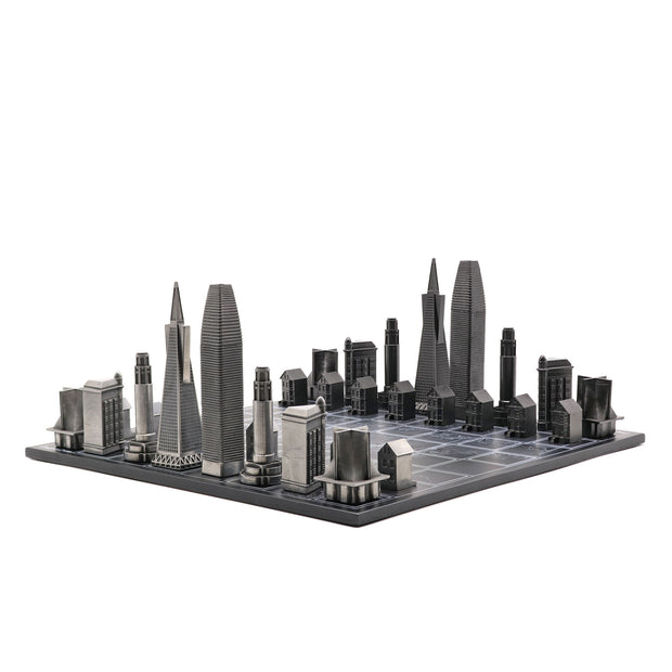 Skyline Chess San Francisco city map solid metal unique chess set - gift ideas for men