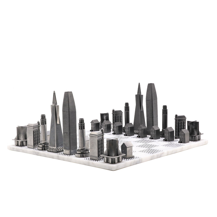 Skyline Chess San Francisco unsusal metal chess set unusual gifts