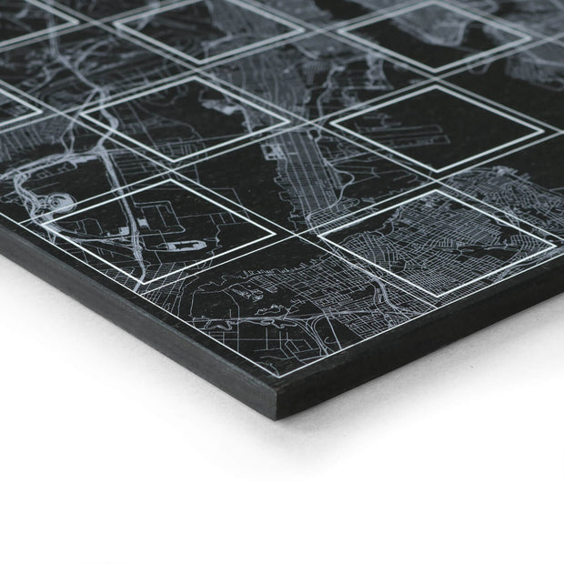 London Chess Set board setup - city map chess board