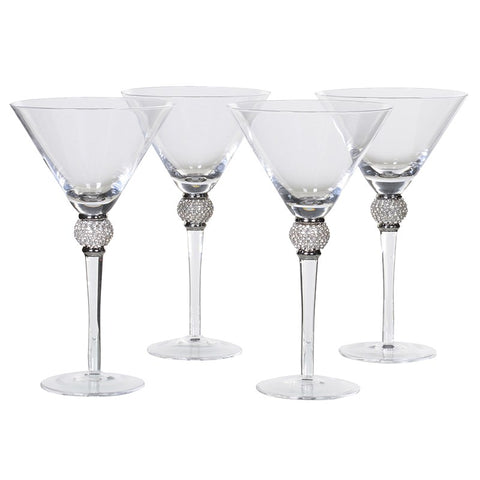 Set of 4 Silver Diamante Martini Glasses