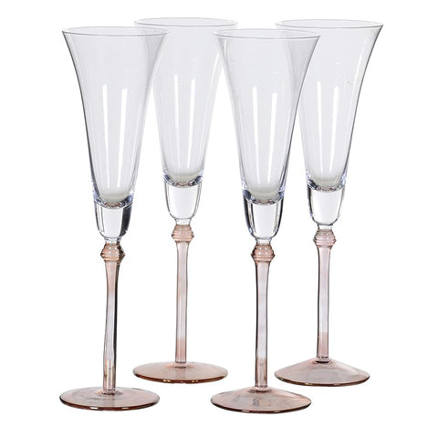 Set of 8 Rose Tint Base Champagne Flutes