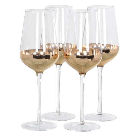 Set of 4 Copper Red Wine Glasses