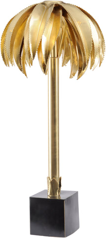 Large Polished Brass Palm Tree Lamp