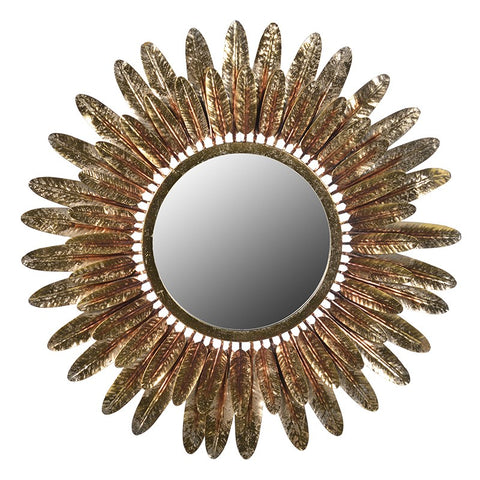 Gold Round Feathers Mirror