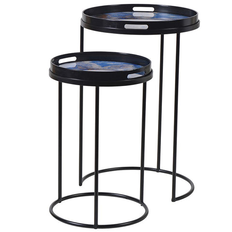 Blue Marble Effect Side Tables