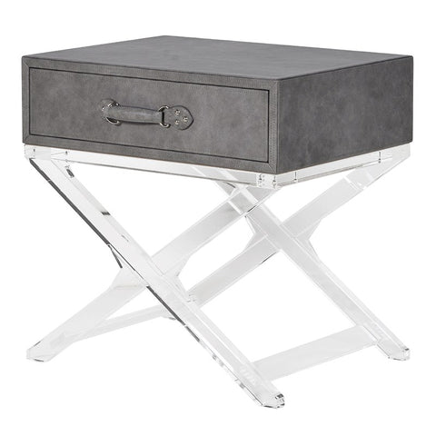 Grey Leather Side Table