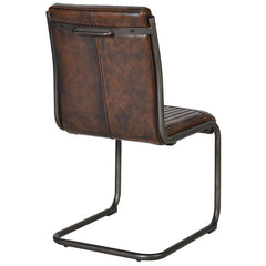 Faux Brown Leather Retro Dining Chair