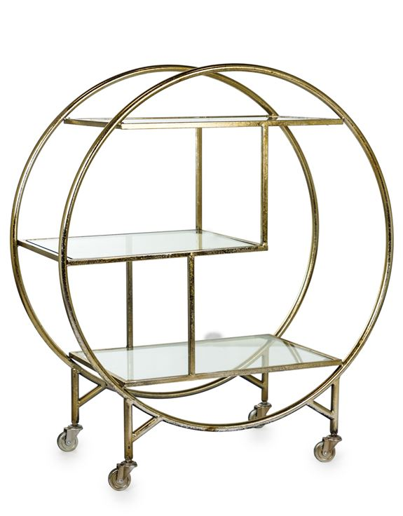 Champagne Leaf Metal Bar Trolley