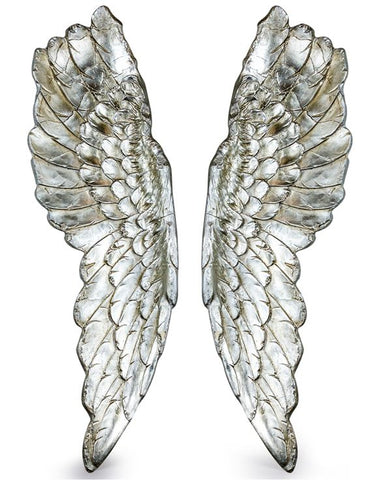 Extra Large Antique Silver Wall Angel Wings
