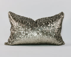 "24""x16"" Gun-Metal Sequin Cushion"