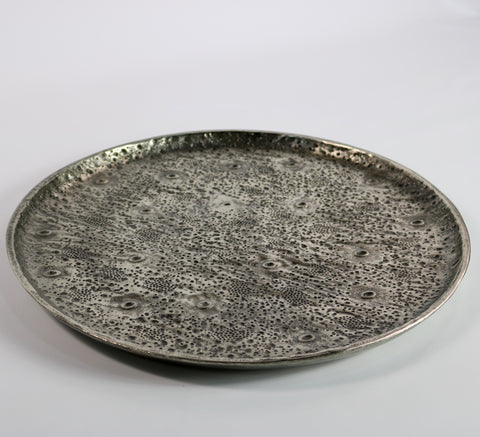 Textured Raw Aluminium Round Tray (large)
