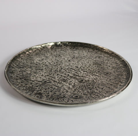 Textured Raw Aluminium Round Tray (small)