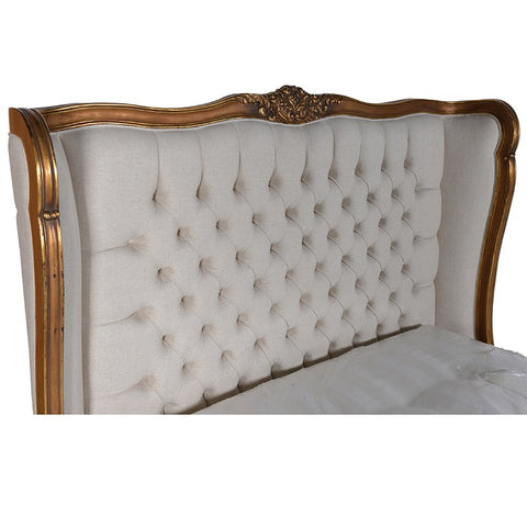 Cream Linen Gilt Framed Bed