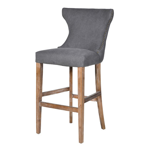 Stone Washed Button Back Bar Stool