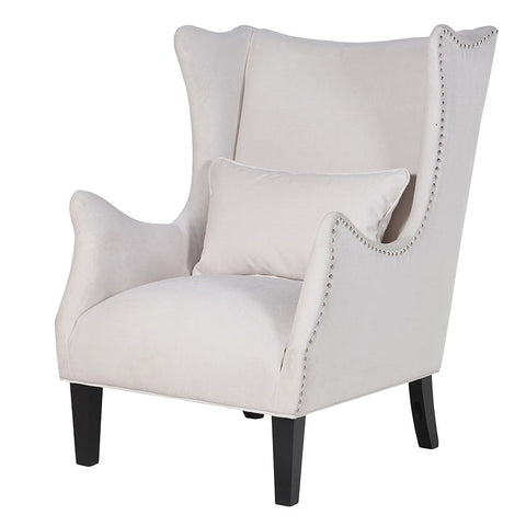 Cream Studded Wing Chair