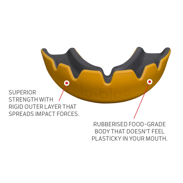 lobloo SLICK Professional Dual Density Mouthguard, One size (+10 yrs), Orange