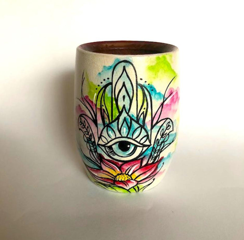 Hand-Painted Evil Eye Wooden Yerba Mate Cup - Soulmate Yerba Co.
