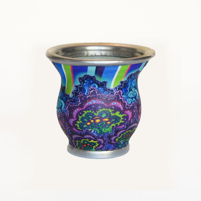 Blue Psychedelic Glass Mate Cup - Soulmate Yerba Co.