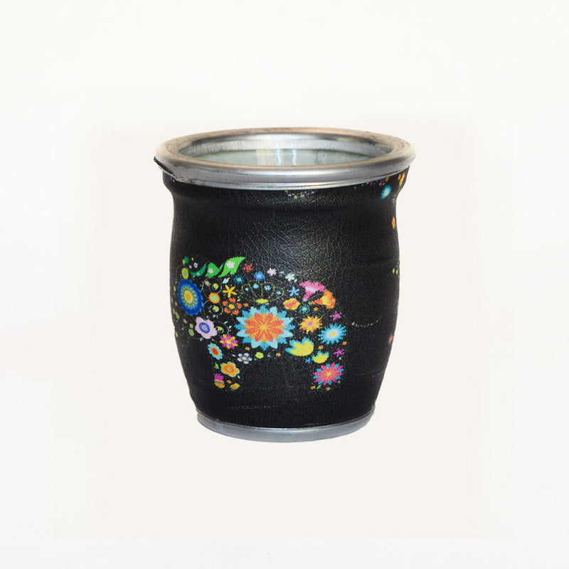 Black Floral Elephant Glass Mate Cup - Soulmate Yerba Co.