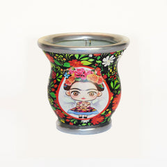 Large Face Floral Frida Kahlo Glass Mate Cup - Soulmate Yerba Co.