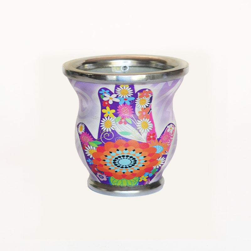 Floral Hamsa Glass Mate Cup - Soulmate Yerba Co.