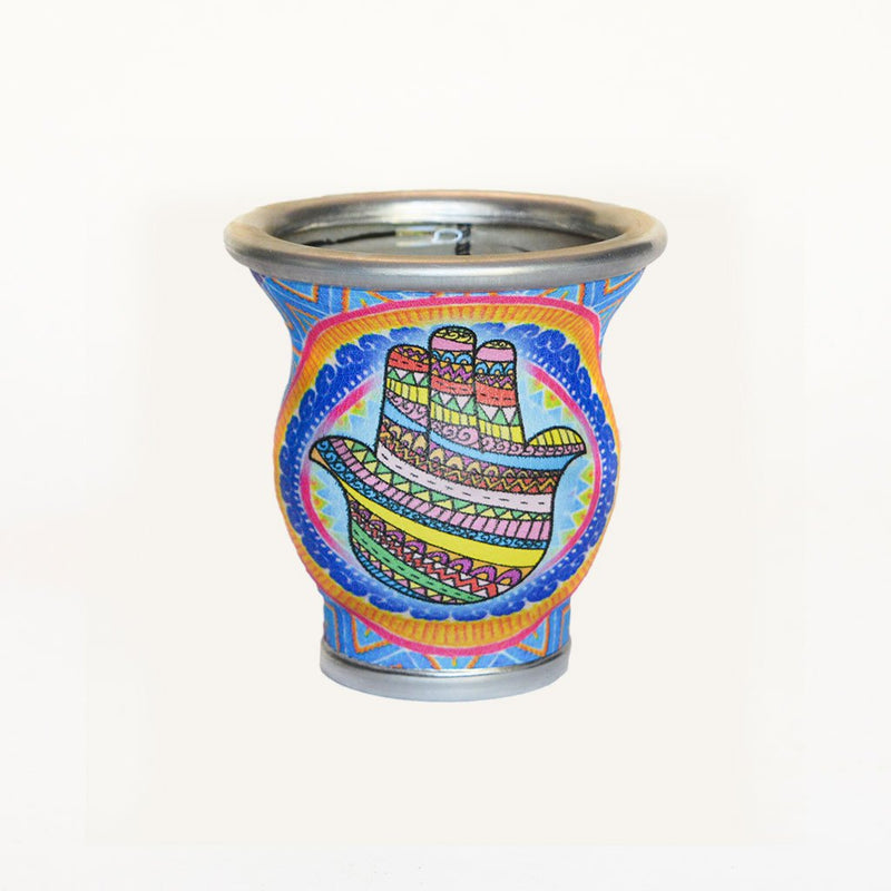 Blue Hamsa Glass Yerba Mate Cup - Soulmate Yerba Co.