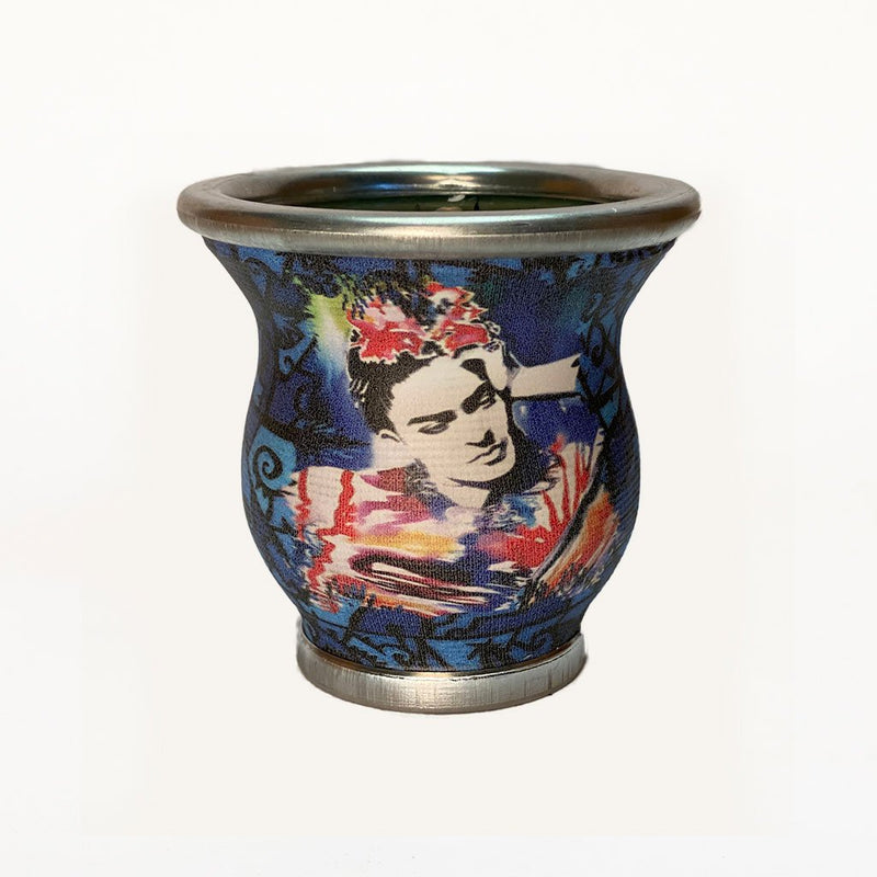 Dark Blue Frida Kahlo Glass Mate Cup - Soulmate Yerba Co.