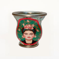 Red Framed Frida Kahlo Glass Mate Cup - Soulmate Yerba Co.