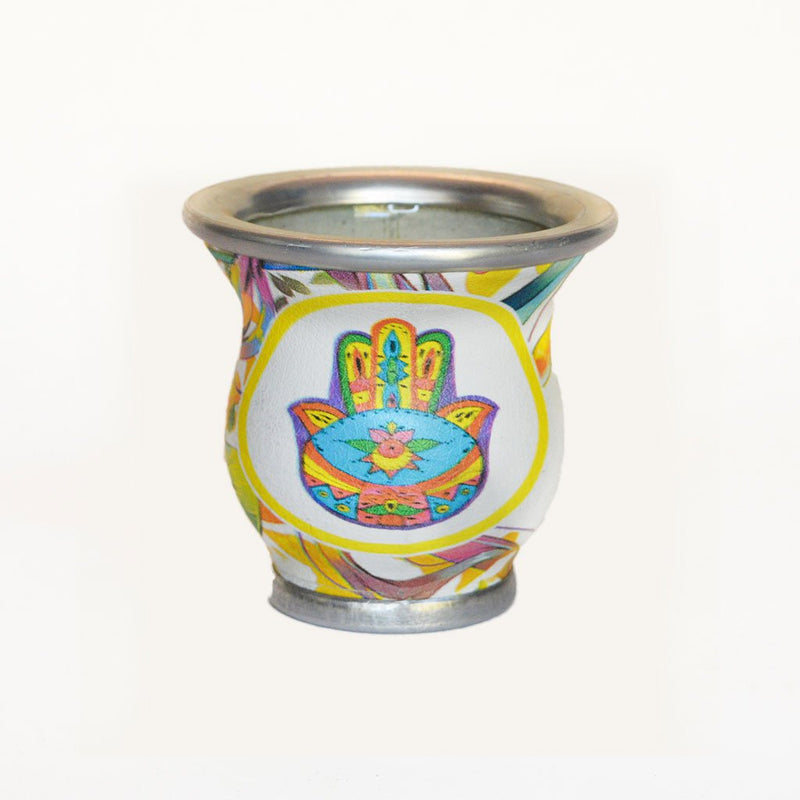 White Circle Colorful Hamsa Glass Mate Cup - Soulmate Yerba Co.