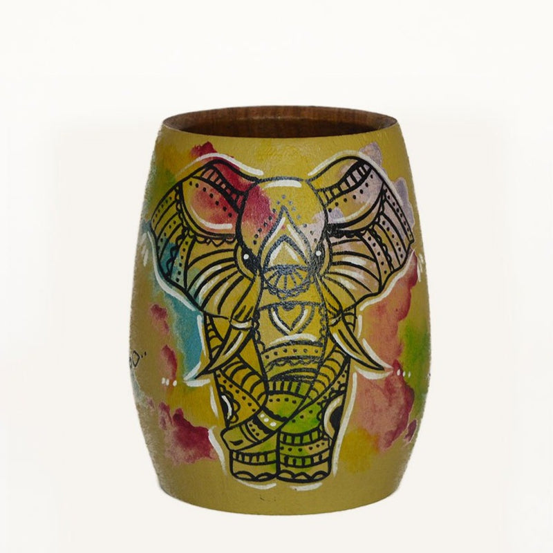Hand-Painted Wise Elephant Wooden Yerba Mate Cup - Soulmate Yerba Co.