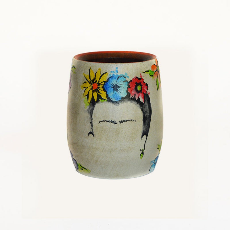 Hand-Painted Frida Kahlo Wooden Yerba Mate Cup - Soulmate Yerba Co.