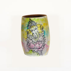 Hand-Painted Ganesh Wooden Yerba Mate Cup - Soulmate Yerba Co.