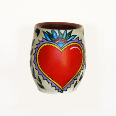 Hand-Painted Strong Heart Wooden Yerba Mate Cup - Soulmate Yerba Co.