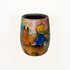 Hand-Painted Little Prince Wooden Yerba Mate Cup - Soulmate Yerba Co.
