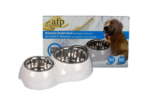 All For Paws Melamine Stainless Steel Double Bowl