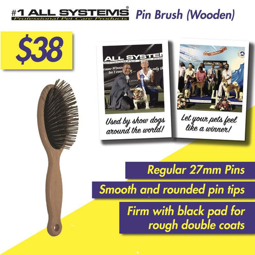#1 All Systems 27mm Pin Wooden Pet Brush (Black Pad)