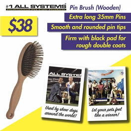 #1 All Systems 35mm Pin Wooden Pet Brush (Black Pad)