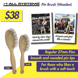 #1 All Systems 27mm Pin Wooden Pet Brush (White Pad)