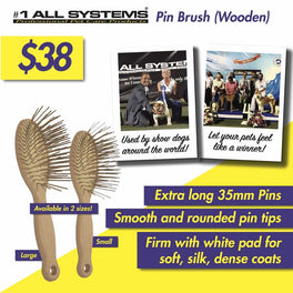 #1 All Systems 35mm Pin Wooden Pet Brush (White Pad)